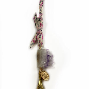Kid's Mask Chain - Liberty Floral Fabric and Amethyst Healing Crystal