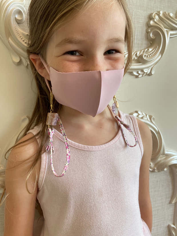 Kid's Mask Chain - Liberty Floral Fabric and Amethyst Healing Crystal 1