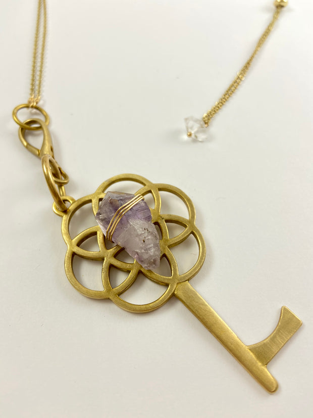 Button Pusher Crystal Grid Pendant Necklace 1