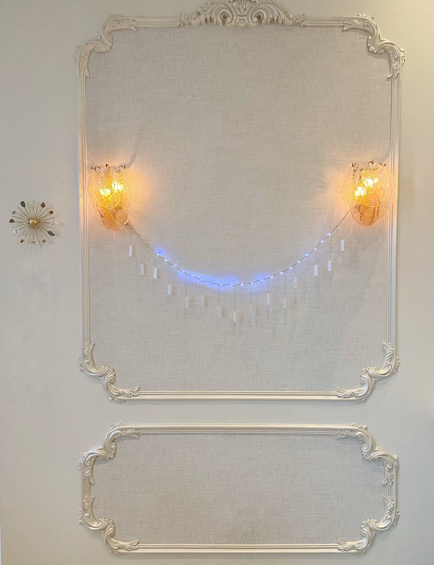 Selenite Garland with String Lighting