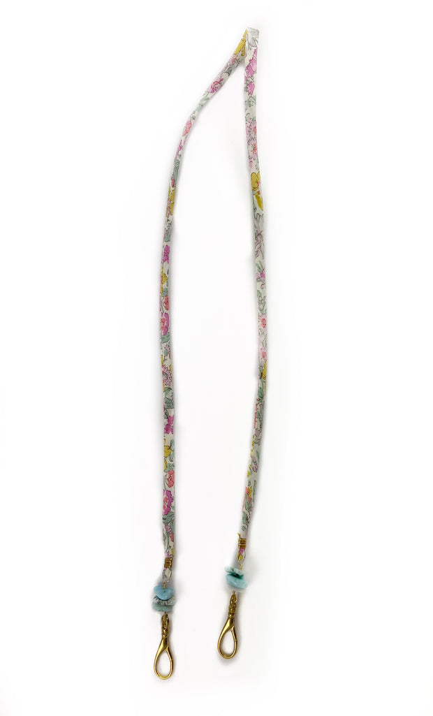 Mask Chain - Liberty Floral Fabric and Larimar Healing Crystal 1