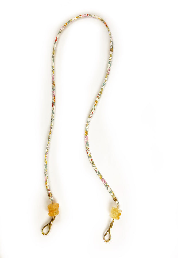 Mask Chain - Liberty Floral Fabric and Citrine Healing Crystal 1