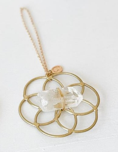 Super Mini Grid Flower Of Life Ornament Clear Quartz