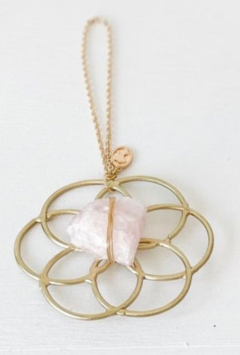 Super Mini Grid Flower Of Life Ornament Rose Quartz