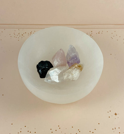 Medium Polished Selenite Charging Crystal Bowl