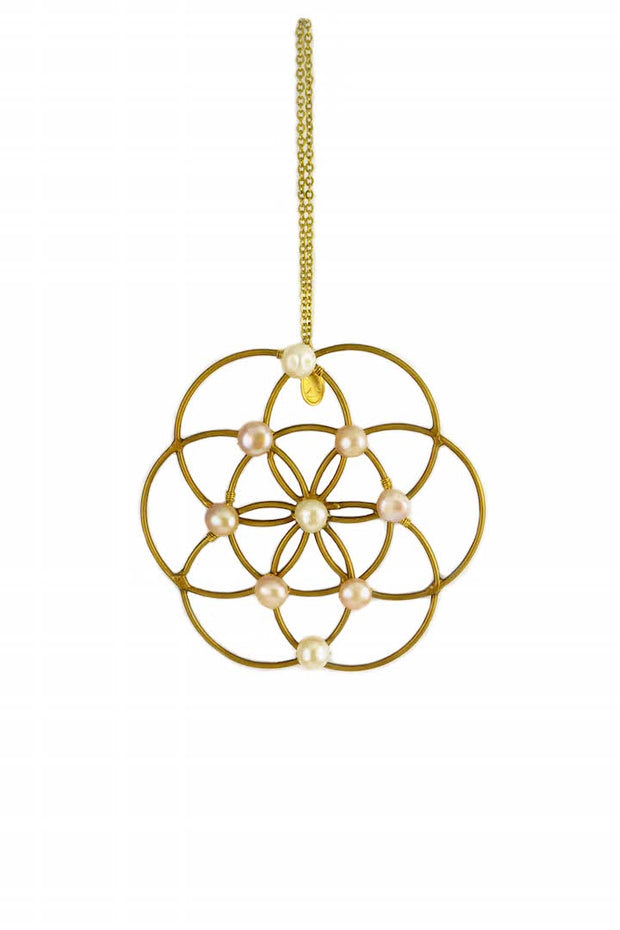 Freshwater Pearl Flower Of Life Grid Ornament 1