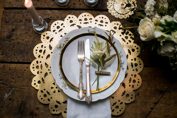 Eyelet Doily Metal Placemat Charger - Rose Gold 1