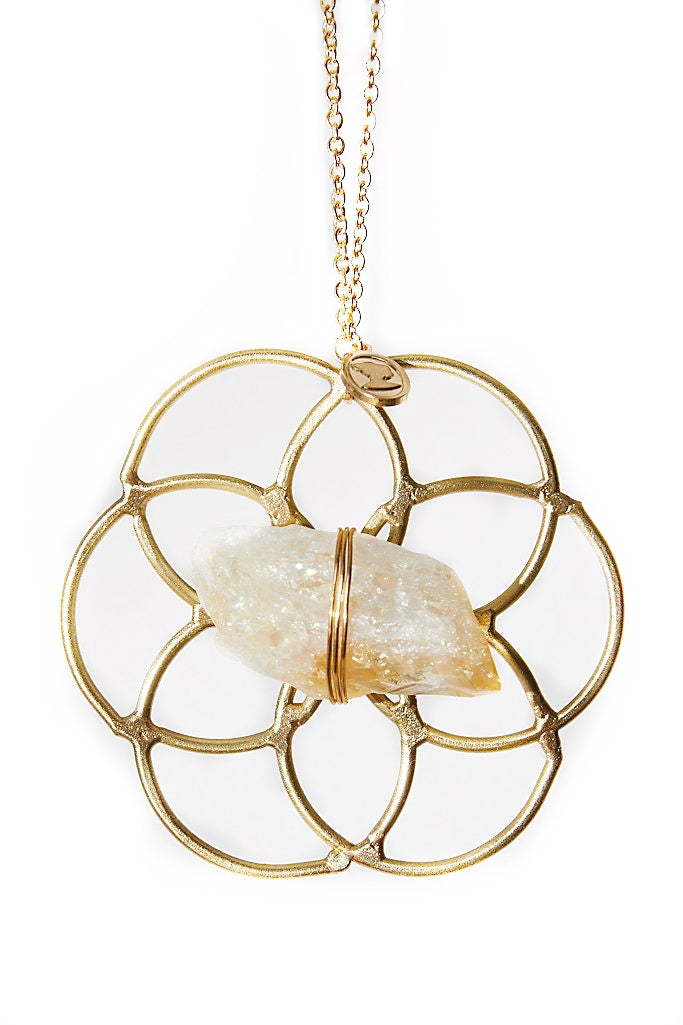 Super Mini Grid Flower Of Life Ornament Citrine