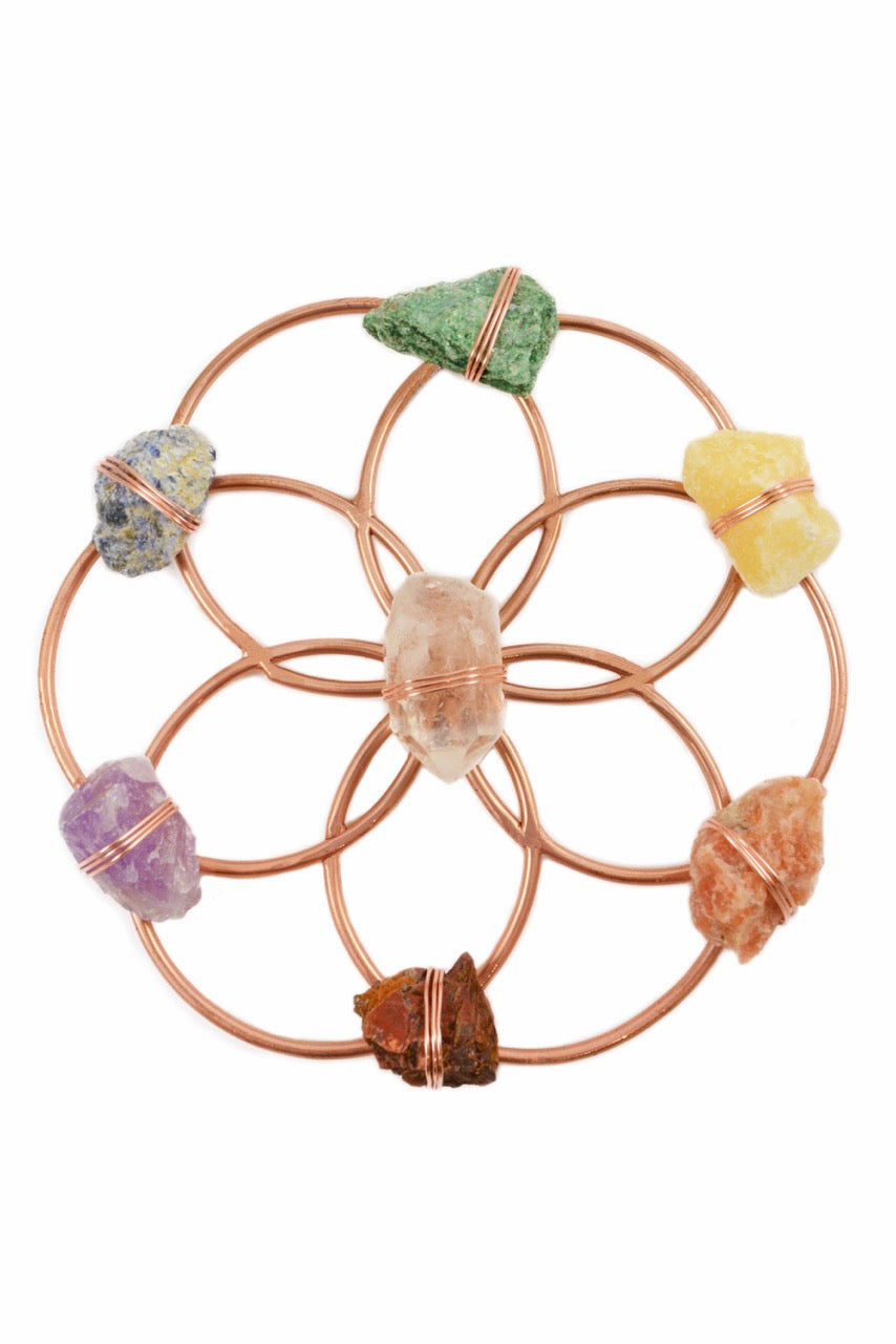 Tuning Fork & Chakra Crystal Grid Instrument Set for Sound Healing