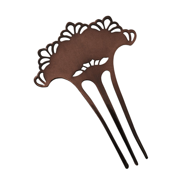 Hair Comb, Scalloped Hair Comb, Metal Hair Comb, Handcrafted Hair Comb, Handmade Hair Comb, Chocolate Hair Comb