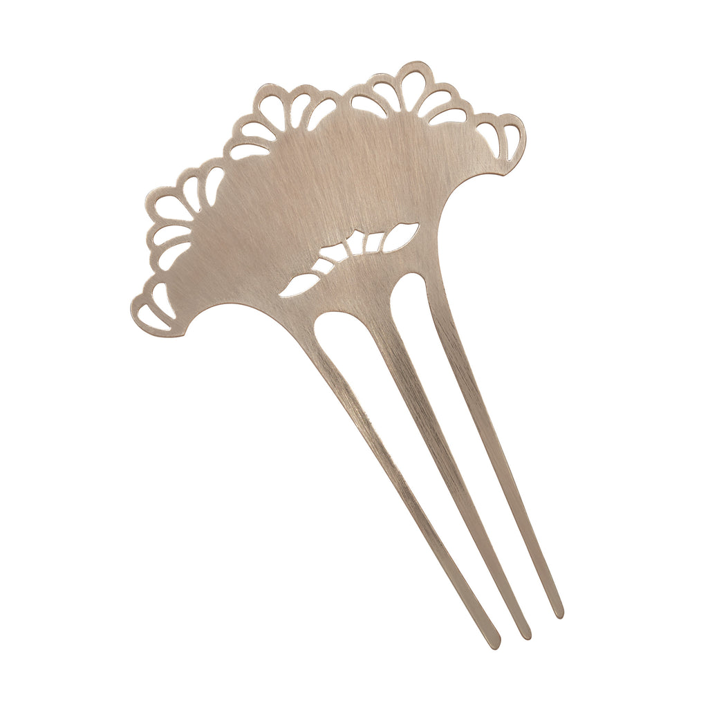 Scalloped Metal Hair Comb