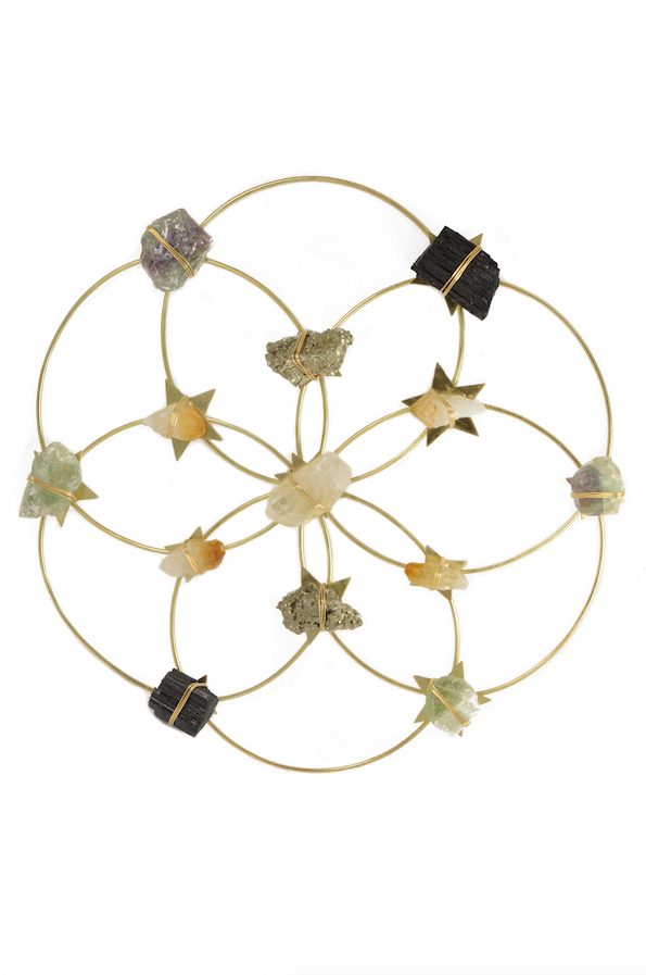 crystal flower grid healing wall decor selenite pyrite citrine