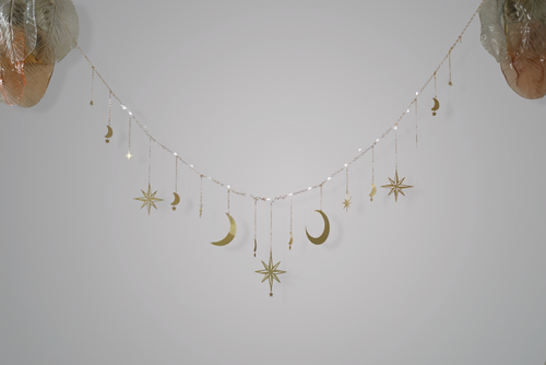 Celestial Moon and Star Garland with String Lighting