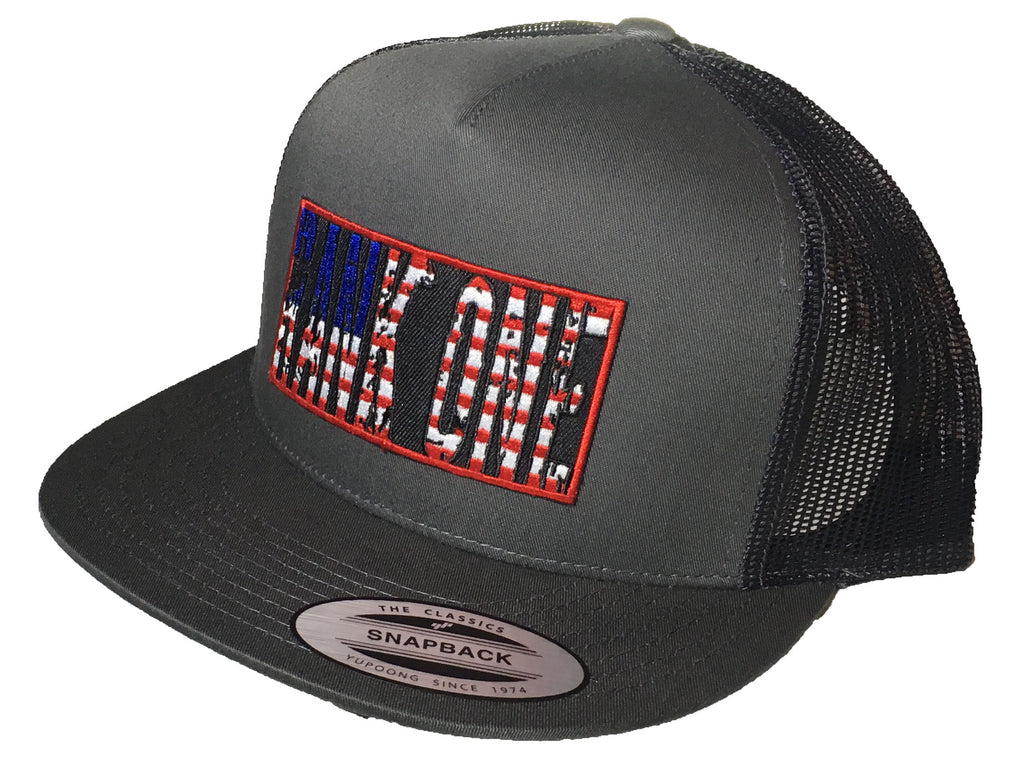 H18-0001 American Flag Patch Cap 6006 Charcoal
