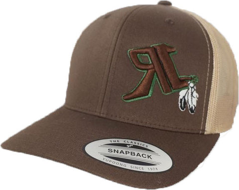 H5-0003 Brown-Khaki Retro Trucker with Feathers