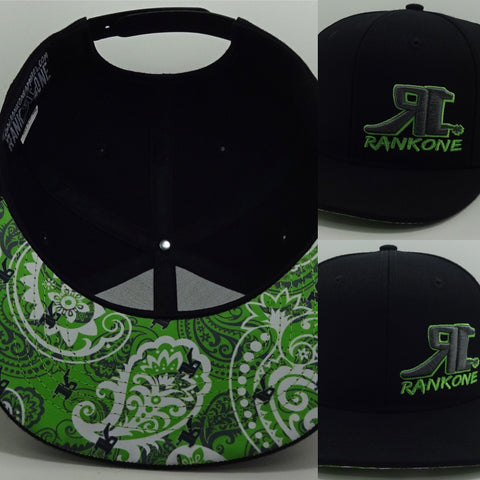 H1-0011  Black W/Lime Green Paisley under the bill
