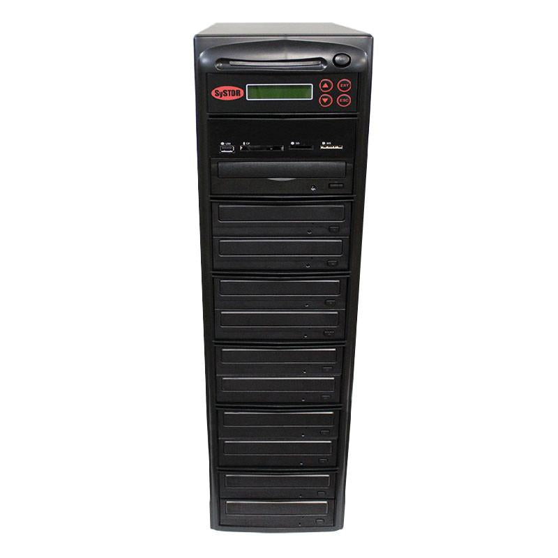 Systor MultiMedia Center - Flash Memory Drive (USB/SD/CF/MS/MMC) to Disc Backup + 1 to 10 SATA CD/DVD/M-Disc Duplicator - PMBC-10