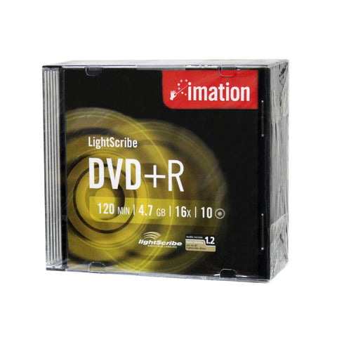 Imation 16x DVD+R LightScribe Printable Blank Media - 10pk, 20pk, 30pk