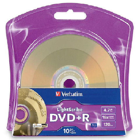 Verbatim LightScribe DVD+R Blank Disc Printable Media (96943) - 10pk, 30pk, 60pk