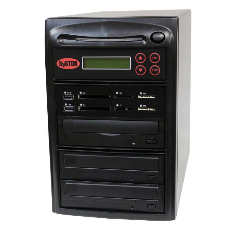Systor MultiMedia Center PLUS - Flash Memory Drive (USB/SD/CF/MS/MMC) to Disc Backup + 1 to 2 SATA CD/DVD Duplicator - PMBC-P-02