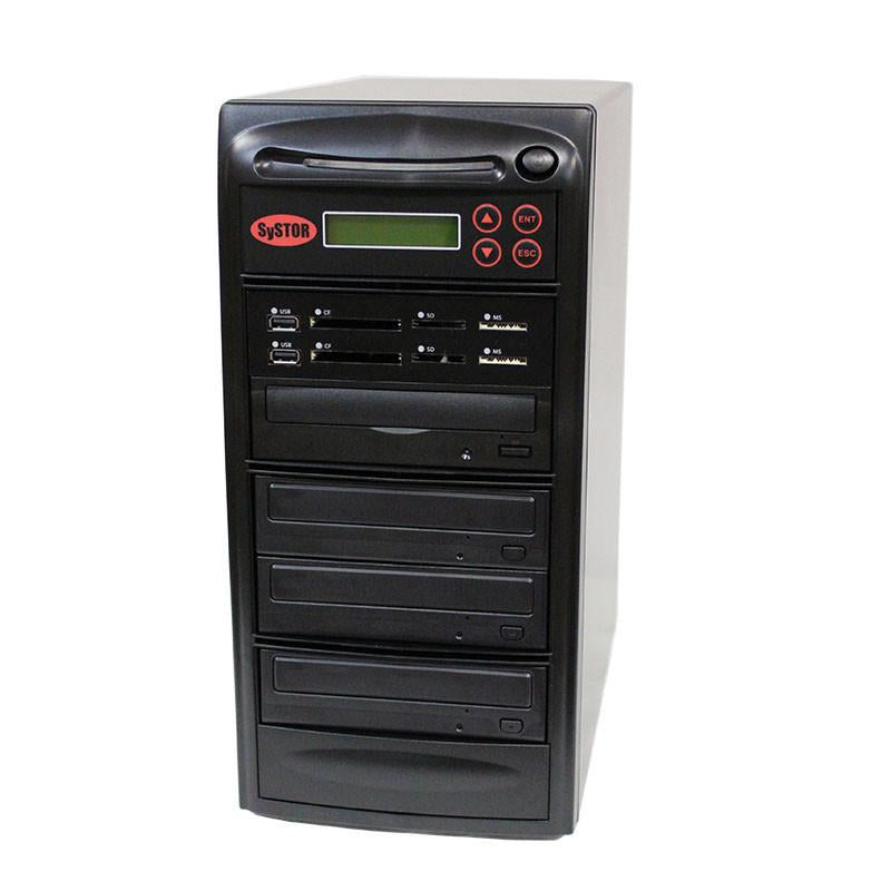 Systor MultiMedia Center PLUS - Flash Memory Drive (USB/SD/CF/MS/MMC) to Disc Backup + 1 to 3 SATA CD/DVD Duplicator - PMBC-P-03