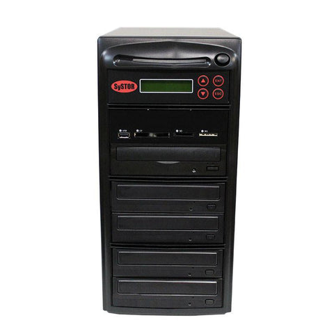 Systor MultiMedia Center - Flash Memory Drive (USB/SD/CF/MS/MMC) to Disc Backup + 1 to 4 SATA CD/DVD Duplicator - PMBC-4