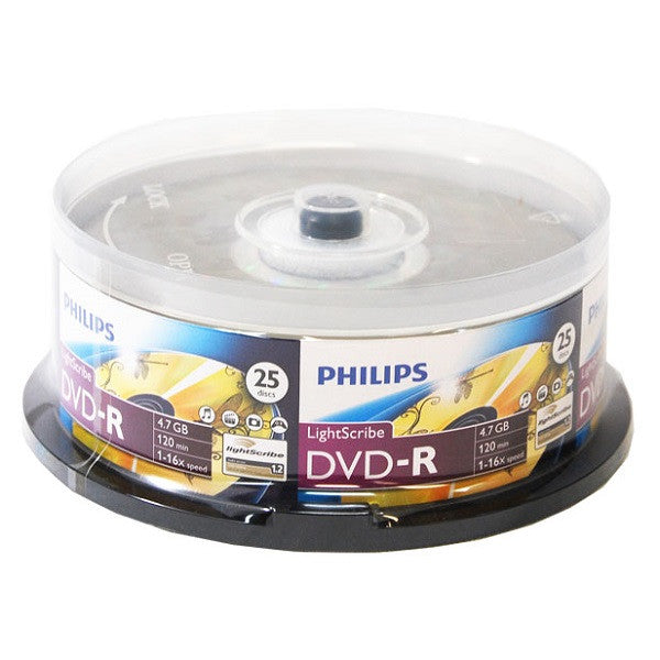 Philips LightScribe DVD-R Blank Disc Printable Media (DM4L6B25F/17) - 25pk