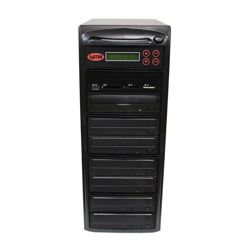 Systor MultiMedia Center - Flash Memory Drive (USB/SD/CF/MS/MMC) to Disc Backup + 1 to 6 SATA CD/DVD Duplicator - PMBC-6