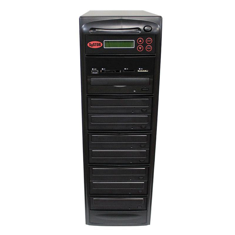 Systor MultiMedia Center - Flash Memory Drive (USB/SD/CF/MS/MMC) to Disc Backup + 1 to 7 SATA CD/DVD Duplicator - PMBC-7