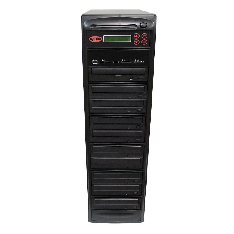 Systor MultiMedia Center - Flash Memory Drive (USB/SD/CF/MS/MMC) to Disc Backup + 1 to 9 SATA CD/DVD Duplicator - PMBC-9