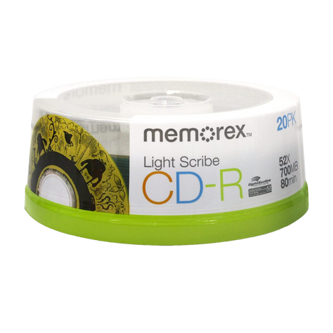 Memorex LightScribe CD-R Blank Disc Printable Media (32024732) - 20 Pack Quantities