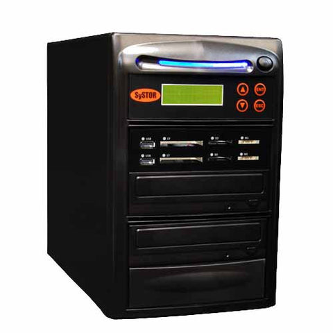 Systor 1:1 Blu-ray BDXL All-in-One Combo - Flash Media Card (USB/SD/CF/MS) + Single CD/DVD/BD Disc Duplicator - SYS-USBSDCF-BD-01