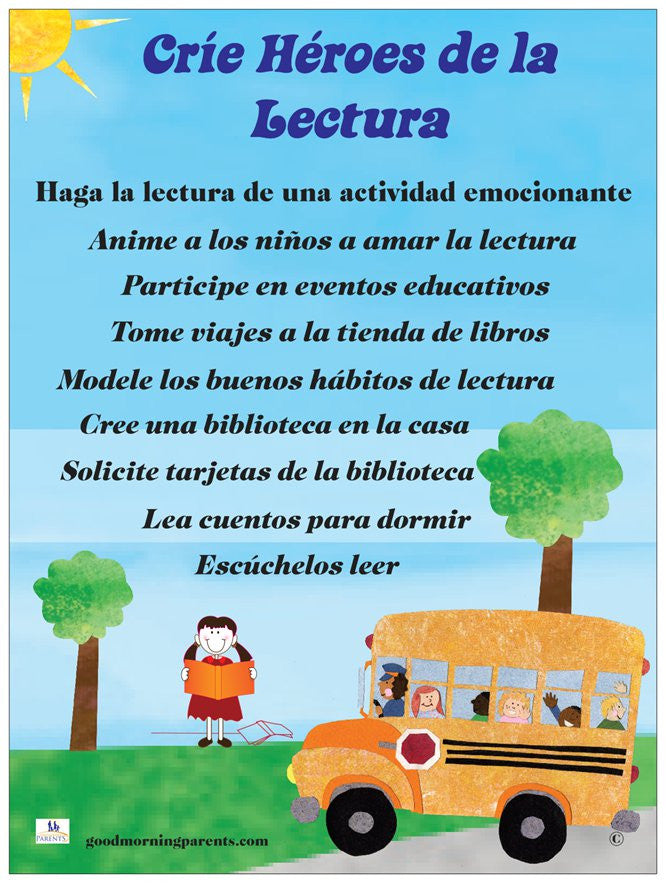 Raising Reading Heroes Poster Spanish