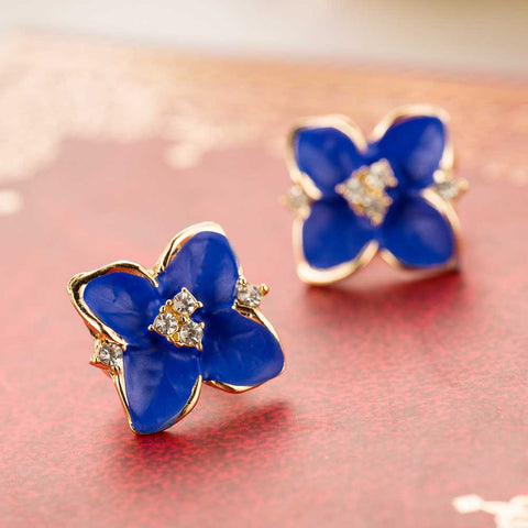Blue Flower Rhinestone Earrings with Gold plated