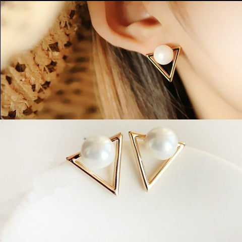 Gold Triangle Pearl Earrings
