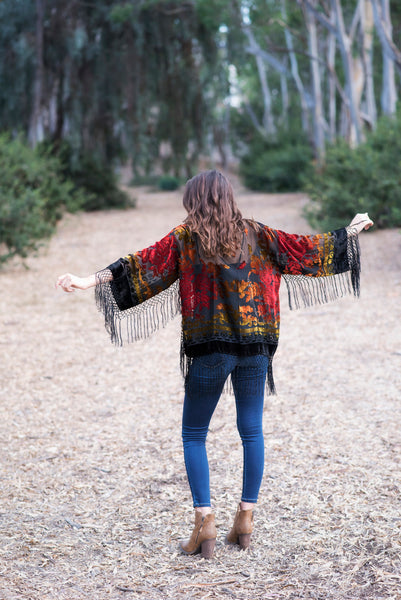 The Midi Velvet Kimono in Red Multi
