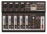 Six-Channel Audio Mixer with USB 5V Power Supply Input, USB Interface, and DSP Sound Effects