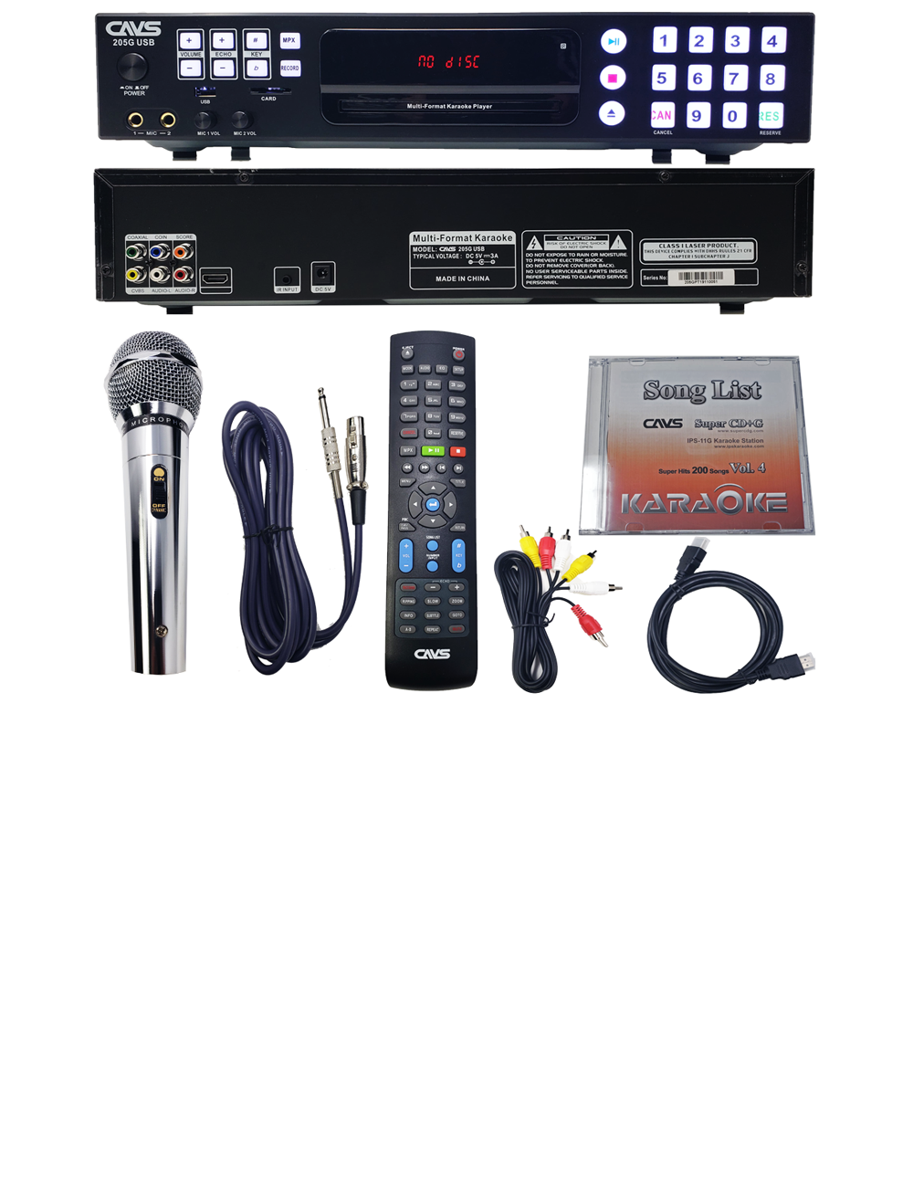 NEW CAVS 205G USB PRO KARAOKE PLAYER PACKAGE