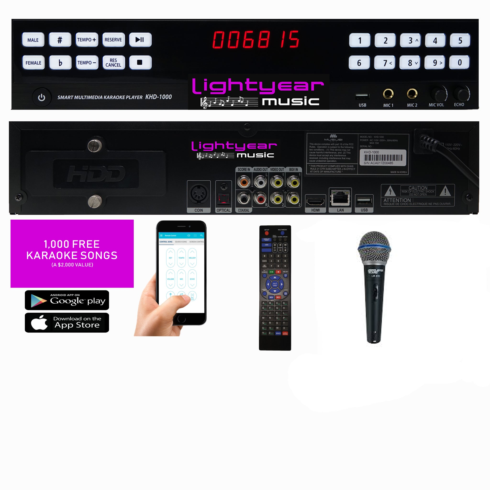 Karaoke Room | Best Karaoke Player | Bluetooth Digital Karaoke Machine | Wired Mics | 1,000 FREE Karaoke Songs