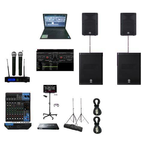 Professional Laptop Karaoke System with Yamaha DBR12 Powered Speakers 2000 Watts DXS15 Powered Subwoofers