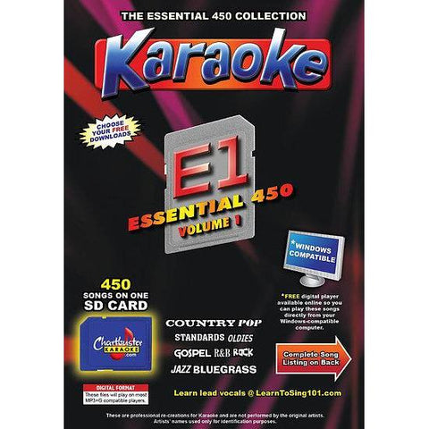 Chartbuster Essential 450 Vol. E1-450 KARAOKE MP3G SD Card  CDG MUSIC 4 PLAYER