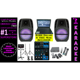 Karaoke System with LED Karaoke Speakers Laptop Yamaha Mixer & Dual Wireless Karaoke Microphones