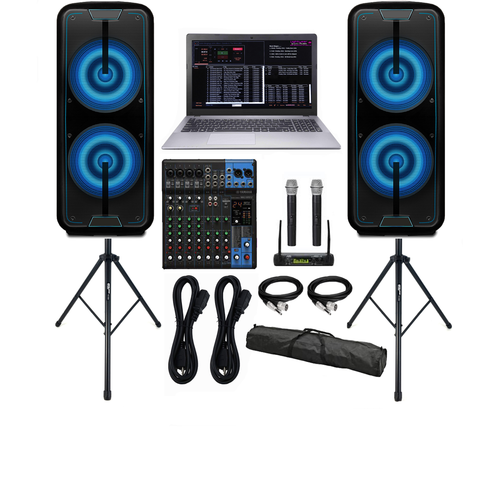 Professional Laptop Karaoke System, DJ Karaoke Speakers, Mixer, Microphones, Stands, FREE MUSIC