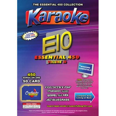 Chartbuster Essential 450 Karaoke Songs Vol 10 SD Card or USB CDG Music