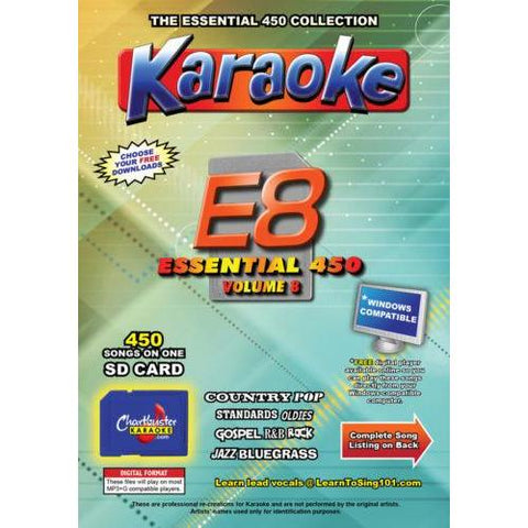Chartbuster Essential 450 Vol. E8 - 450 KARAOKE MP3G SD Card  CDG Music 4 PLAYER