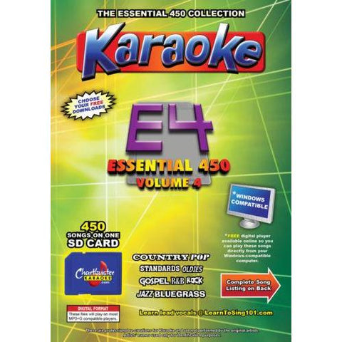 Chartbuster Essential 450 Vol. E4-450 KARAOKE MP3G SD Card  CDG MUSIC 4 PLAYER