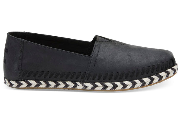 Leather Women's Espadrilles - Black