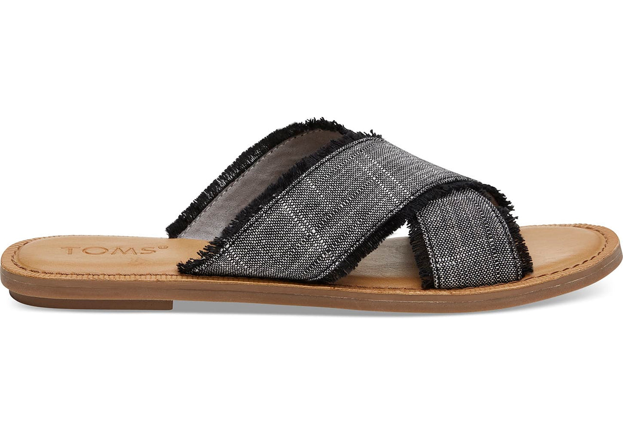 Slub Chambray Viv Sandals - Black
