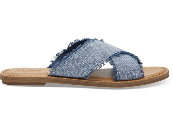 Slub Chambray Viv Sandals - Blue