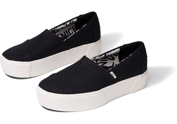Alpargata Boardwalk Platform Slip-On - Black Canvas